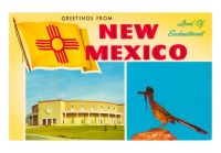 NM-00130-C~Greetings-from-New-Mexico-Roadrunner-and-Roundhouse-Posters